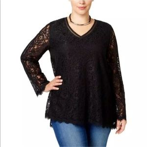 Style & Co Solid Black Lace Long Sleeve Blouse